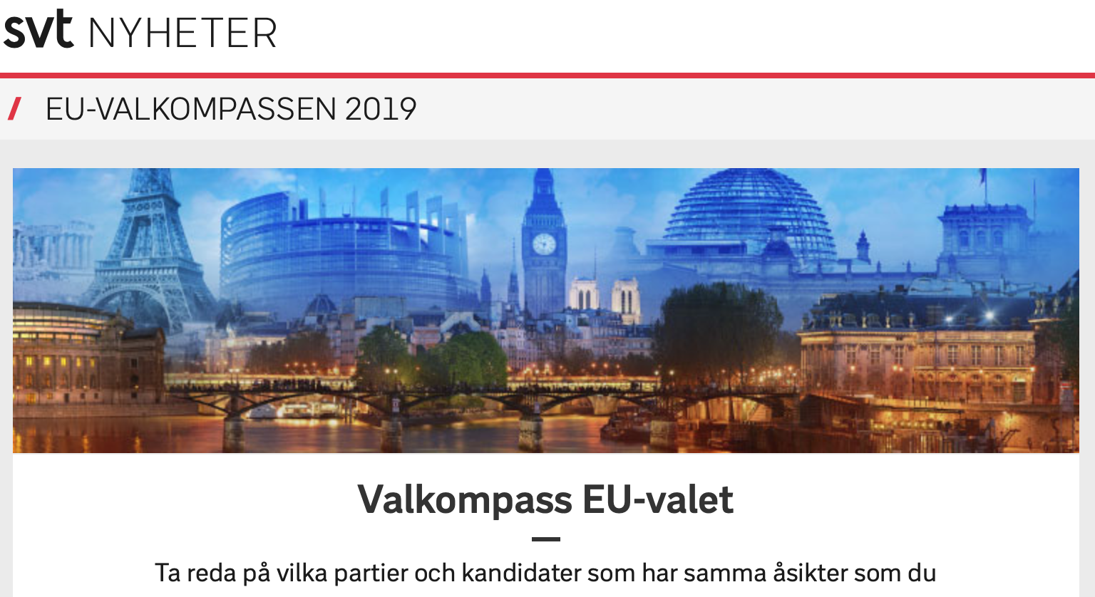 You are currently viewing SVTs Valkompass för EU-valet